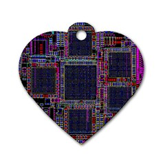 Cad Technology Circuit Board Layout Pattern Dog Tag Heart (Two Sides)