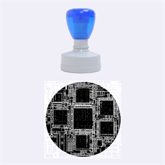 Cad Technology Circuit Board Layout Pattern Rubber Round Stamps (Medium)