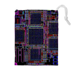 Cad Technology Circuit Board Layout Pattern Drawstring Pouches (Extra Large)
