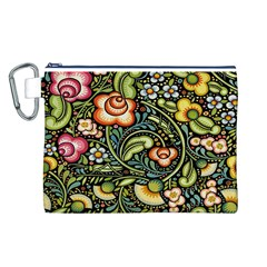 Bohemia Floral Pattern Canvas Cosmetic Bag (L)