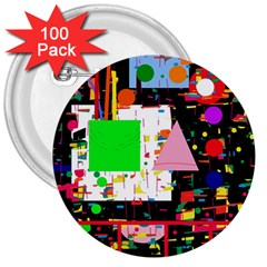 Colorful facroty 3  Buttons (100 pack)