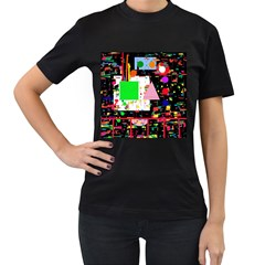 Colorful facroty Women s T-Shirt (Black) (Two Sided)