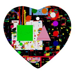 Colorful facroty Heart Ornament (2 Sides)