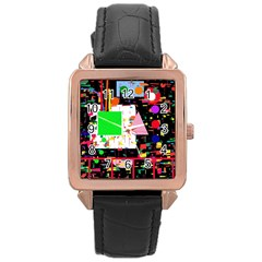 Colorful facroty Rose Gold Leather Watch