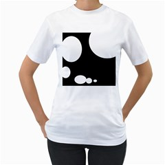 Black and white moonlight Women s T-Shirt (White) (Two Sided)