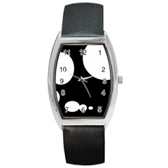 Black and white moonlight Barrel Style Metal Watch