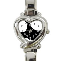 Black and white moonlight Heart Italian Charm Watch