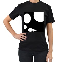 Black and white moonlight Women s T-Shirt (Black) (Two Sided)
