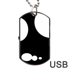 Black and white moonlight Dog Tag USB Flash (One Side)