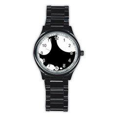 Black and white moonlight Stainless Steel Round Watch