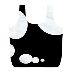 Black and white moonlight Full Print Recycle Bags (L)