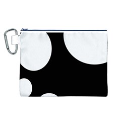 Black and white moonlight Canvas Cosmetic Bag (L)