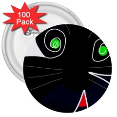 Big cat 3  Buttons (100 pack)