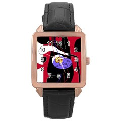 Love Rose Gold Leather Watch