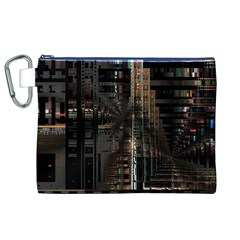 Black technology Circuit Board Electronic Computer Canvas Cosmetic Bag (XL)