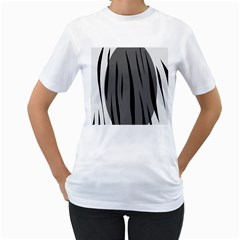 Gray, black and white design Women s T-Shirt (White) (Two Sided)