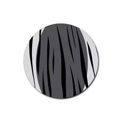 Gray, black and white design Rubber Coaster (Round)