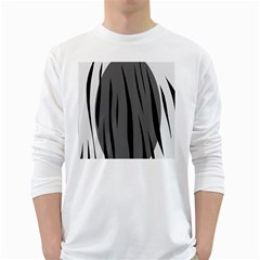 Gray, black and white design White Long Sleeve T-Shirts