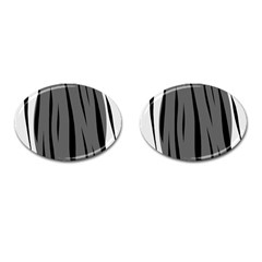 Gray, black and white design Cufflinks (Oval)