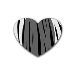 Gray, black and white design Heart Coaster (4 pack)