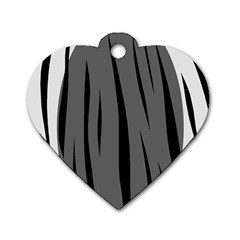 Gray, black and white design Dog Tag Heart (Two Sides)