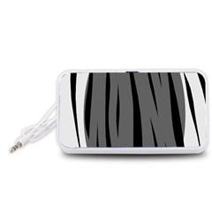 Gray, black and white design Portable Speaker (White)