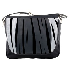 Gray, black and white design Messenger Bags