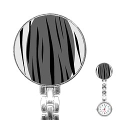 Gray, black and white design Stainless Steel Nurses Watch