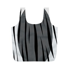 Gray, black and white design Full Print Recycle Bags (M)