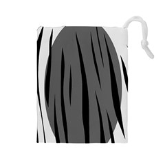 Gray, black and white design Drawstring Pouches (Large)