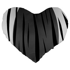 Gray, black and white design Large 19  Premium Flano Heart Shape Cushions