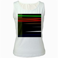 Colorful lines  Women s White Tank Top