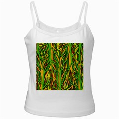 Upside-down forest White Spaghetti Tank
