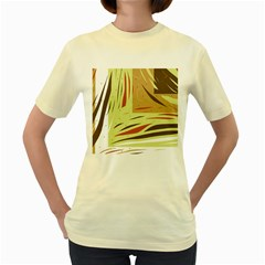 Brown decorative design Women s Yellow T-Shirt