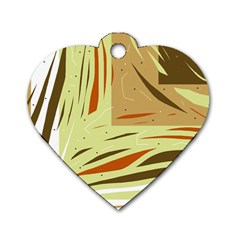 Brown decorative design Dog Tag Heart (One Side)