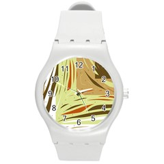Brown decorative design Round Plastic Sport Watch (M)