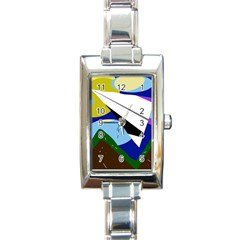 Paper airplane Rectangle Italian Charm Watch