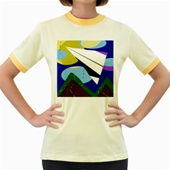 Paper airplane Women s Fitted Ringer T-Shirts