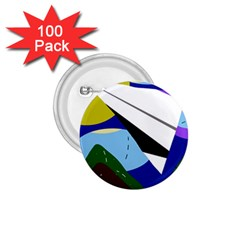 Paper airplane 1.75  Buttons (100 pack)