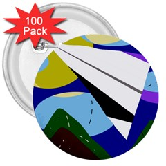 Paper airplane 3  Buttons (100 pack)