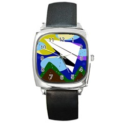 Paper airplane Square Metal Watch