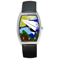 Paper airplane Barrel Style Metal Watch