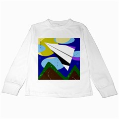 Paper airplane Kids Long Sleeve T-Shirts