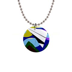 Paper airplane Button Necklaces