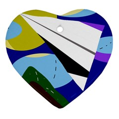 Paper airplane Heart Ornament (2 Sides)