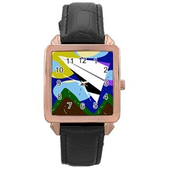 Paper airplane Rose Gold Leather Watch