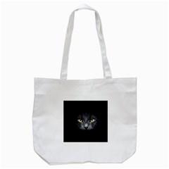 Black Cat Face In The Dark Tote Bag (White)