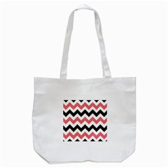 Black And Pink Chevron Tote Bag (White)