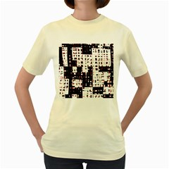 Abstract city landscape Women s Yellow T-Shirt