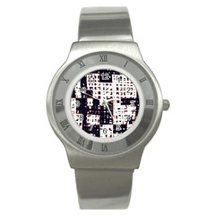 Abstract city landscape Stainless Steel Watch
